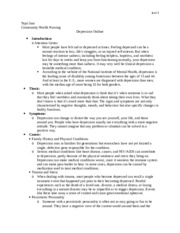 Teaching Topic Draft (outline) (Depression)