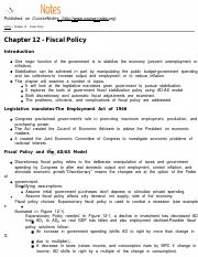 MACROECON Chapter 12 - Fiscal Policy