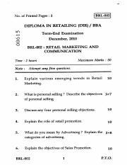 (www.entrance-exam.net)-IGNOU Diploma in Retailing-Retail Marketing and Communication Sample Paper 5