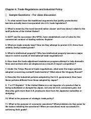 Practice Questions, chapter 6 Trade Policy
