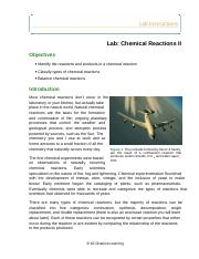 Lab- Chemical Reactions II