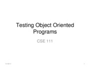Lecture 9 Testing Object Oriented Programs