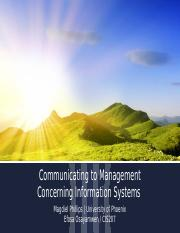 Communicating to Management Concerning Information Systems
