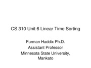 CS 310 Unit 6 Linear Time Sorting