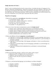 Exam 1 Sample Questions SP16