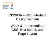CIS363A - Web Interface with lab Week 3
