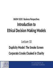 BADM 1020 - Lecture 10 - Duplicity Model - Smoke Screen