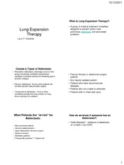 Lung Expansion Therapy Fall 2011