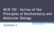 MCB 102 - Lecture 1 -Summer 2014