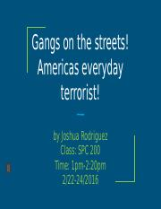 Gangs on the streets! Americas everyday terrorist!
