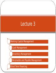 Lecture 3 Working Capital