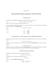 Lecture 14 Second Order ODEs; General Theory