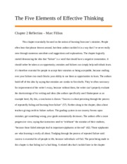 The Five Elements of Effective Thinking - Reflection 2.docx