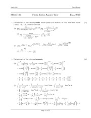 Final Exam Answer Key- 2013