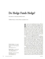 Do Hedge Funds Hedge