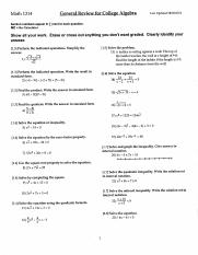Math 1314 General Review