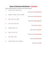 Types of Reactions Worksheet and Key - Balance the following ...