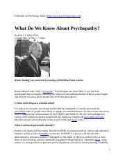 Short Articles about psychopaths - Published on Psychology Today.docx