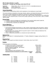 BS 219 Basic Nutrition syllabus Spring 2014