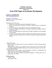 Econ 3T03 Development Economics winter 2012