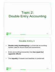 Topic 2 - Double Entry Accounting (1)