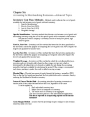 Chapter 6 Accounting for Merchandising Businesses--Advanced Topics
