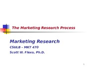 Chapter 2 - The Marketing Research Process