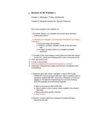 Answers to MC Problem answers 1-3