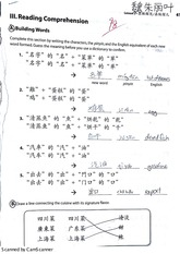 Chinese Reading Comprehension Assignment