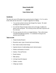 HS Spring 2011 Exam 1 Review Guide