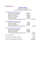 Bluebonnet Bakers Statement of cash flows