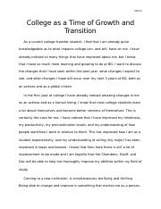 College as a Time of Growth and Transition.docx