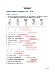 HCA 220 Week 5 Appendix G - Building a Medical Vocabulary Ch. 6, 7, & 14