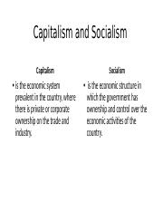 1.4 Capitalism and Socialism