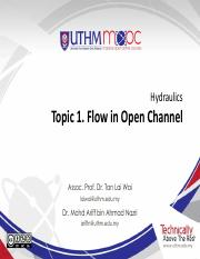 hydraulics Topic 1 Flow in Open Channel