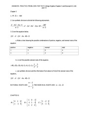 ANSWERS College Algebra PRACTICE TEST PROBLEMS for   Chapter 5 AND 6 (except 6.5, 6.8) and  7.4 CORR