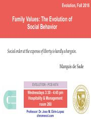 Lecture 13- Family Values- The Evolution of Social Behavior