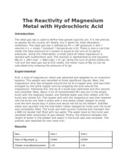 The Reactivity of Magnesium Metal with Hydrochloric Acid