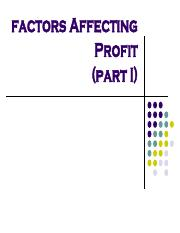 Chapter 2(factors affecting profit) part I