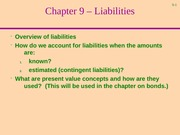 Chapter 9-Liabilities