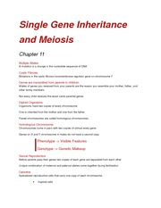 Chapter 11 - Single Gene Inheritance and Meosis