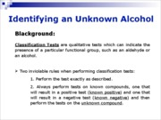 12 - Identifying an Unknown Alcohol