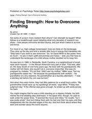 Finding Strength- How to Overcome Anything