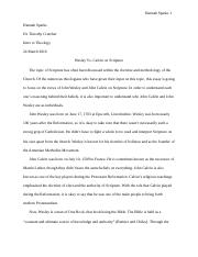 Final Draft Intro to Theology Wesley vs Calvin on Scripture