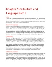 Chapter Nine Culture and Language Part 1