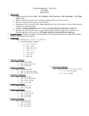 College Mathematics - Day Eight Outline