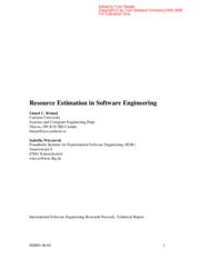 Resource Estimation in Software Engineering