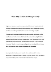 EDU 372 Week 2 DQ 2 Intellectual Exceptionality