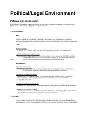 Overview political environment