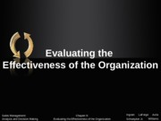 Chapter 9:  Evaluating the Effectiveness of the Organization